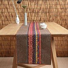 Unterschrift Baumwolle Tischläufer buddhistischen Stimmung Tee Tisch Kissen ethnischen Stil Tischfahne Bett Läufer ( Farbe : A , größe : 35*120cm )