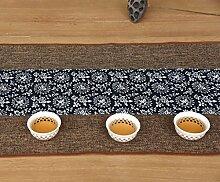 Unterschrift Baumwolle Tischläufer buddhistischen Stimmung Tee Tisch Kissen ethnischen Stil Tabelle Flagge Bett Läufer rot Karpfen blau Blume ( Farbe : B , größe : 35*350cm )