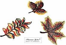 Untersetzer Deckchen PLAUENER SPITZE® 3er SET Blätter Halloween Herbst Aufleger Dekoration