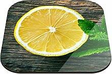 Untersetzer Zitrone mit Minze B x H: 10cm x 10cm - 6er Pack von Klebefieber®