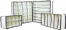 Unterwaesche Aufbewahrungsboxen - SODIAL(R) Schublade Schrank Organizer BH Unterwaesche Aufbewahrungsboxen(Beige,Set von 4)