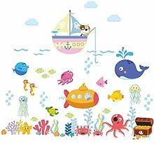 Unterwasser Fischblase Wandaufkleber für