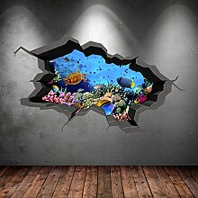 Unterwasser gebrochenen Cave Aquarium Fisch 3D Art Wand Aufkleber jungen Aufkleber Wandbild Neue 13