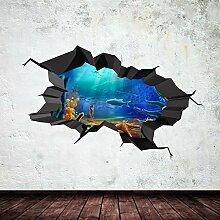 Unterwasser gebrochenen Cave Aquarium Fisch 3D Art Wand Aufkleber jungen Aufkleber Wandbild New 2