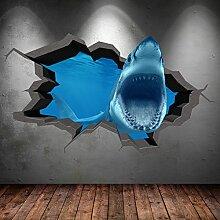 Unterwasser gebrochenen Cave Aquarium Fisch Shark 3D Art Wand Aufkleber jungen Aufkleber Wandbild neuen 15