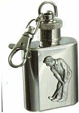 Unzen Flachmann Schlüsselanhänger mit Golf Badge