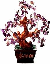 UOHA-SONG Mode Geschenk Geldbörse Gelb Kristall Glück Baum Geldbeutel Baum Glücklicher Baum Mode Heimtextilien Desktop-Dekoration,Purple