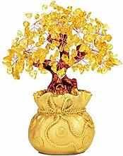 UOHASONG Heimtextilien Glückliche Baumdekoration Geschenkkristallgeldbeutel Baum Kreative Art Und Weise Zu Hause Handwerk Desktop-Dekoration,Gold-S