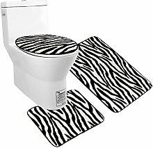 Uomere 3 Piece Black White Zebra Bathroom Mat Set ( Contour Rug + Bathroom Carpet + Toilet Cover ) by Uomere