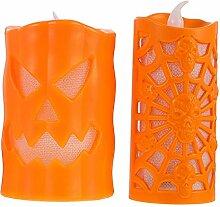 Uonlytech 2 Stück Halloween LED Teelicht Kerzen