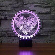 Uonlytech Zahnrad Form Herz Design Lampe 3D LED