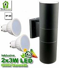 Up Down Aluminium XL Wandleuchte Wandlampe Außenleuchte Außenlampe Schwarz , Ausführung:2x3 Watt Gu10 Warmweiß