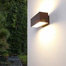 Up & Down Wandleuchte Aluminium rost-braun | Lichtkegel nach oben & unten | Außenleuchte dimmbar | Außenwandleuchte / Wandbeleuchtung | für Energiesparlampen R7s + Gartenbeleuchtung IP54 + 1-flammig