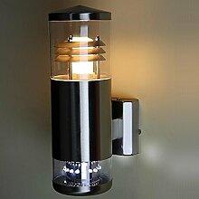 Up & Down Wandleuchte silber | Außenleuchte inklusive 16 Downlight LEDs | Außenwandleuchte Terrasse & Hauseingang | Edelstahl-Gartenbeleuchtung IP44 + E27 + 2 flammig + winterfes