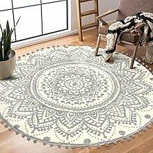 Uphome Runder Teppich, 122 cm Durchmesser, mit