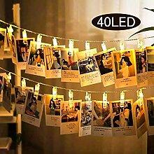 Uping LED Lichterkette 40 Foto Clips 2,4M warm
