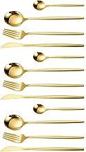 UPKOCH 12Pcs Gold Besteck Set Messer Löffel