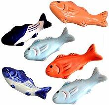 UPKOCH 6 Stück Keramik Essstäbchen Halter Fisch