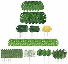 UPKOCH 70Pcs 10 Arten Künstliche Palmblätter