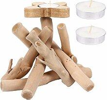 UPKOCH Holz Kerzenständer Halter Treibholz