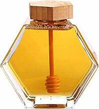 UPKOCH Honigglas mit Honigschöpflöffel für Die