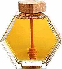 UPKOCH Honigglas, sechseckig, Honigtopf Behälter,
