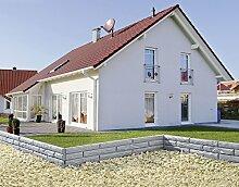 UPP® Gartenmauern Steinoptik/ Beetbegrenzung/ Gartenpalisade/ Sichtwand/ Schutz/ Gartenzaun grau/ Rasen Begrenzung / Rasenbegrenzung / Rasenkante / Blumenabgrenzung / Schneidkante / Mähkante (5,80m)