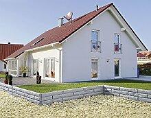 UPP® Gartenmauern Steinoptik/ Beetbegrenzung/ Gartenpalisade/ Sichtwand/ Schutz/ Gartenzaun grau/ Rasen Begrenzung / Rasenbegrenzung / Rasenkante / Blumenabgrenzung / Schneidkante / Mähkante (11,60m)