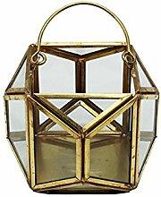 Upper-Bügeleisen Leuchter europäischen Vintage Bronze kerzenständer Laternen Laterne Glas Kerze Kupfer Kunsthandwerk Heimtextilien Hochzeit Ornamente, Kupfer 11,5 * 11,5 * 10 cm