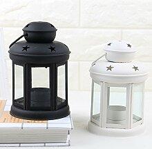 Upper-Continental Leuchter Leuchter Dekorationen Heimtextilien massiven Eisen Kerze Laterne Kerzenlampe Ornamente Hochzeit Zimmer Sterne, Schwarzer Tee Wachs