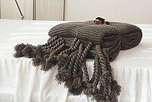 Upper-Decken, Nordic Pullover, Strickwaren Wolldecken, Pins, Sofas, Teppichen, Quasten, Teppiche, Rauchgrau