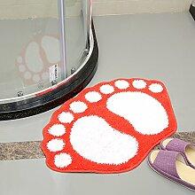 Upper-Füße Wasser absorbierenden Fußmatte Fußmatte Tür Bäder mat Schlafzimmer Badezimmer WC Badezimmer Matten, 0,5 m × 0,8 m, Orange