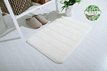 Upper-Langsame Erholung slip absorbierenden Matten dicke Fußmatte Tür Bad - Badezimmer matten Badezimmer Schlafzimmer Wohnzimmer Teppich, 80 × 160 cm, M, Weiß