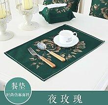 Upper-Mat Baumwolle Leinen Stoff Isolierfolie moderne, einfache rechteckige Serviette pad, Rose