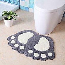 Upper-Matten Badezimmer Matten Matten Badezimmer Dusche Tür Modellierung Saugkissen Füße Anti-Rutsch-Pads, 40 * 60 CM, GRAU