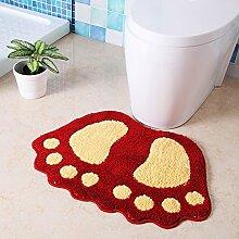 Upper-Matten Badezimmer Matten Matten Badezimmer Dusche Tür Modellierung Saugkissen Füße Anti-Rutsch-Pads, 40 * 60 CM, ROT