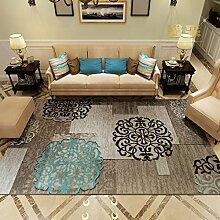 Upper-modernen mediterranen Stil Wohnzimmer Couchtisch Teppiche Teppiche im Flur Schlafzimmer Bett Teppiche dicker, A, blaue Blume