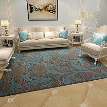 Upper-modernen mediterranen Stil Wohnzimmer Couchtisch Teppiche Teppiche im Flur Schlafzimmer Bett Teppiche dicker, C, blaue Blume
