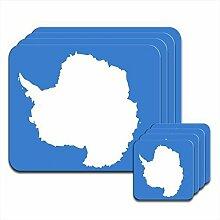 Upper-Placemats Antarktis Flag Set mit 4 Achterbahnen & Placemats ,4 x Coaster und Placemats