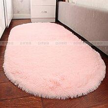 Upper-Plüsch oval Doppelbett Schlafzimmer Bett Teppich Decke Wand-zu-Wand Wohnzimmer Couchtisch schöne Matte, D, Ellipse lila