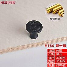 Upper-Schublade Einloch runde chinesische Kabinett Tür gold Griff alle Kupfer Schranktür Griff, schwarz