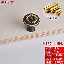 Upper-Schublade Einloch runde chinesische Kabinett Tür gold Griff alle Kupfer Schranktür Griff, Bronze Gold
