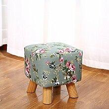 upper-Tuch Tisch Hocker kleine Sitzbank ändern Schuhe Home kann Waschbar runde Stuhl niedrigen Hocker sein Wohnzimmer Sofa Hocker, Green-Flower