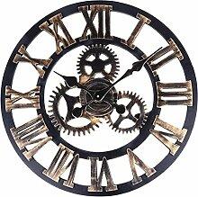 Uptop Handgemachte Vintage Industrial 3D Gear Style Ruhige Runde Hölzerne Wanduhr Römische Ziffern Design 40CM Gold