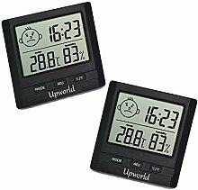 Upworld Hygrometer mit Uhr 2 Stück, Mini