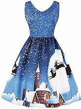 Upxiang Plus Size! Frauen Weihnachtsbaum Sleeveless Printed Kleid Weihnachten Party Kleid Über Knie Kleid Vintage A-Linie Kleid Xmas Swing Skater Kleid Womens Minikleid (Ferienhaus-Hellblau, XXXL)
