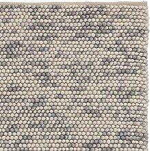 URBANARA Teppich Ravi - Grau Melange 140 x 200 cm