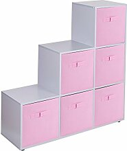 Urbnliving Treppenregal mit 6 Fächern, Light Pink