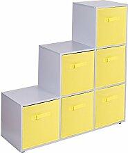 Urbnliving Treppenregal mit 6 Fächern, Yellow