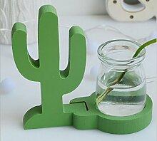 URGrace 1Pcs Kaktus / Flamingo / Ananas Potting Hydroponics Kreative Glas Vase Desktop Holz Glas Pflanze Glas Vase Stand Blume Topf Möbel Heim Dekoration Ornamente